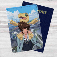 Taichi Yagami and Agumon Digimon Custom Leather Passport Wallet Case Cover