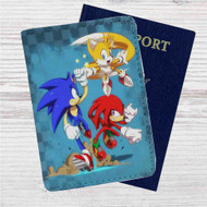 Team Sonic The Hedgehog Custom Leather Passport Wallet Case Cover