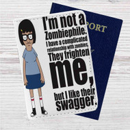 Tina Belcher I am Not Zombiephile Custom Leather Passport Wallet Case Cover