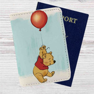 Winnie The Pooh With Ballon Disney Custom Leather Passport Wallet Case Cover