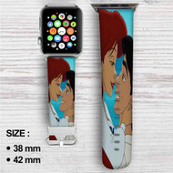 Ariel and Eric Love Disney Custom Apple Watch Band Leather Strap Wrist Band Replacement 38mm 42mm