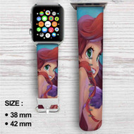 Cute Ariel Mermaid Beautifull Custom Apple Watch Band Leather Strap Wrist Band Replacement 38mm 42mm