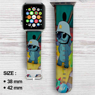 Disney Stitch Like Army Custom Apple Watch Band Leather Strap Wrist Band Replacement 38mm 42mm