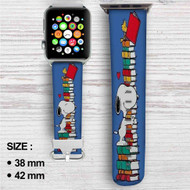 Snoopy and Woodstock Reading Book Custom Apple Watch Band Leather Strap Wrist Band Replacement 38mm 42mm