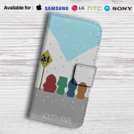 South Park Snow Custom Leather Wallet iPhone 4/4S 5S/C 6/6S Plus 7  Samsung Galaxy S4 S5 S6 S7 Note 3 4 5  LG G2 G3 G4  Motorola Moto X X2 Nexus 6  Sony Z3 Z4 Mini  HTC ONE X M7 M8 M9 Case