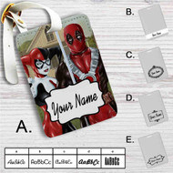 American Gothic Harley Quinn and Deadpool Custom Leather Luggage Tag