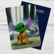 Disney Stitch Yoda Custom Leather Passport Wallet Case Cover