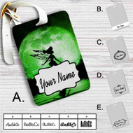 Tinkerbell Green Moon Custom Leather Luggage Tag