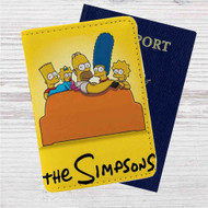 The Simpsons Watching TV Custom Leather Passport Wallet Case Cover