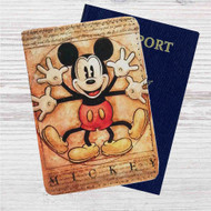 Vitruvian Mickey Mouse Custom Leather Passport Wallet Case Cover