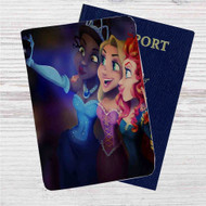 Disney Princesses Take Selfies Custom Leather Passport Wallet Case Cover