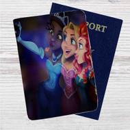 Disney Princesses Take Selfies Custom Leather Passport Wallet Case Cover