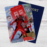 Doctor Who Deadpool Custom Leather Passport Wallet Case Cover