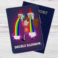 Double Rainbow Gravity Falls Custom Leather Passport Wallet Case Cover