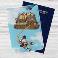 Gravity Falls Up Custom Leather Passport Wallet Case Cover