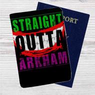 Straight Outta Arkham Batman Joker Custom Leather Passport Wallet Case Cover
