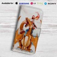 Charmander & Ash Pokemon Art Custom Leather Wallet iPhone 4/4S 5S/C 6/6S Plus 7| Samsung Galaxy S4 S5 S6 S7 Note 3 4 5| LG G2 G3 G4| Motorola Moto X X2 Nexus 6| Sony Z3 Z4 Mini| HTC ONE X M7 M8 M9 Case