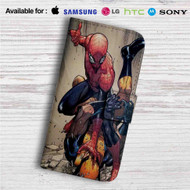 Spider-Man vs Wolverine Custom Leather Wallet iPhone 4/4S 5S/C 6/6S Plus 7| Samsung Galaxy S4 S5 S6 S7 Note 3 4 5| LG G2 G3 G4| Motorola Moto X X2 Nexus 6| Sony Z3 Z4 Mini| HTC ONE X M7 M8 M9 Case