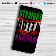Straight Outta Arkham Batman Joker Custom Leather Wallet iPhone 4/4S 5S/C 6/6S Plus 7| Samsung Galaxy S4 S5 S6 S7 Note 3 4 5| LG G2 G3 G4| Motorola Moto X X2 Nexus 6| Sony Z3 Z4 Mini| HTC ONE X M7 M8 M9 Case