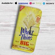 Wheat Thins Crackers Custom Leather Wallet iPhone 4/4S 5S/C 6/6S Plus 7  Samsung Galaxy S4 S5 S6 S7 Note 3 4 5  LG G2 G3 G4  Motorola Moto X X2 Nexus 6  Sony Z3 Z4 Mini  HTC ONE X M7 M8 M9 Case