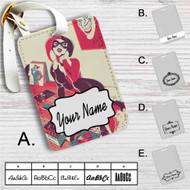 Harley Quinn Play Music Custom Leather Luggage Tag