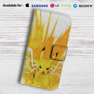 Pikachu Pokemon Angry Custom Leather Wallet iPhone 4/4S 5S/C 6/6S Plus 7| Samsung Galaxy S4 S5 S6 S7 Note 3 4 5| LG G2 G3 G4| Motorola Moto X X2 Nexus 6| Sony Z3 Z4 Mini| HTC ONE X M7 M8 M9 Case