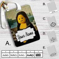Lego Mona Lisa Custom Leather Luggage Tag