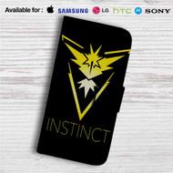 Team Instinct Pokemon Custom Leather Wallet iPhone 4/4S 5S/C 6/6S Plus 7  Samsung Galaxy S4 S5 S6 S7 Note 3 4 5  LG G2 G3 G4  Motorola Moto X X2 Nexus 6  Sony Z3 Z4 Mini  HTC ONE X M7 M8 M9 Case