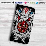 The Mask Princess Mononoke Custom Leather Wallet iPhone 4/4S 5S/C 6/6S Plus 7  Samsung Galaxy S4 S5 S6 S7 Note 3 4 5  LG G2 G3 G4  Motorola Moto X X2 Nexus 6  Sony Z3 Z4 Mini  HTC ONE X M7 M8 M9 Case