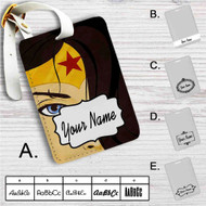 Wonder Woman Face Custom Leather Luggage Tag