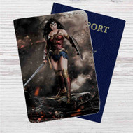 Gal Gadot as Wonder Woman Custom Leather Passport Wallet Case Cover
