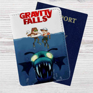 Gravity Falls as Jaws Custom Leather Passport Wallet Case Cover