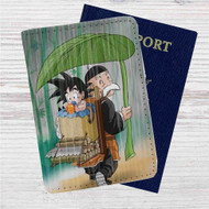 Little Goku and Gohan Custom Leather Passport Wallet Case Cover