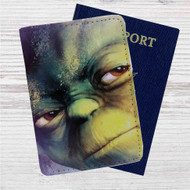 Master Yoda Face Star Wars Custom Leather Passport Wallet Case Cover