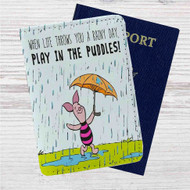 Piglet Winnie The Pooh Custom Leather Passport Wallet Case Cover