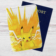 Pikachu Pokemon Angry Custom Leather Passport Wallet Case Cover