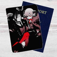 Sebastian Black Butler and Ciel Custom Leather Passport Wallet Case Cover