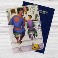 Spiderman and Kid Green Goblin Custom Leather Passport Wallet Case Cover