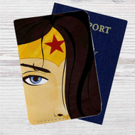 Wonder Woman Face Custom Leather Passport Wallet Case Cover