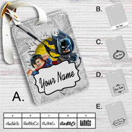 Batman and Superman Lego Custom Leather Luggage Tag