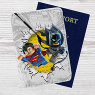 Batman and Superman Lego Custom Leather Passport Wallet Case Cover
