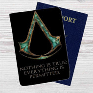 Black Flag Assassin's Creed Custom Leather Passport Wallet Case Cover