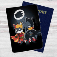 Sonic Batman and Robin Custom Leather Passport Wallet Case Cover