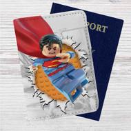 Superman Lego Custom Leather Passport Wallet Case Cover
