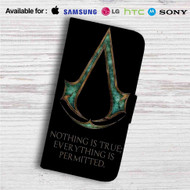 Black Flag Assassin's Creed Custom Leather Wallet iPhone 4/4S 5S/C 6/6S Plus 7| Samsung Galaxy S4 S5 S6 S7 Note 3 4 5| LG G2 G3 G4| Motorola Moto X X2 Nexus 6| Sony Z3 Z4 Mini| HTC ONE X M7 M8 M9 Case