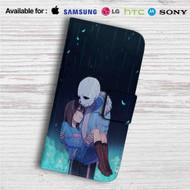 Frisk and Sans Undertale Custom Leather Wallet iPhone 4/4S 5S/C 6/6S Plus 7  Samsung Galaxy S4 S5 S6 S7 Note 3 4 5  LG G2 G3 G4  Motorola Moto X X2 Nexus 6  Sony Z3 Z4 Mini  HTC ONE X M7 M8 M9 Case