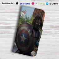 Bucky With Shield Custom Leather Wallet iPhone 4/4S 5S/C 6/6S Plus 7| Samsung Galaxy S4 S5 S6 S7 Note 3 4 5| LG G2 G3 G4| Motorola Moto X X2 Nexus 6| Sony Z3 Z4 Mini| HTC ONE X M7 M8 M9 Case
