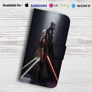 Darth Vader and Ahsoka Tano Custom Leather Wallet iPhone 4/4S 5S/C 6/6S Plus 7| Samsung Galaxy S4 S5 S6 S7 Note 3 4 5| LG G2 G3 G4| Motorola Moto X X2 Nexus 6| Sony Z3 Z4 Mini| HTC ONE X M7 M8 M9 Case