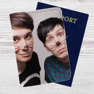Dan and Phil Custom Leather Passport Wallet Case Cover