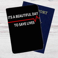 Grey's Anatomy Quotes Custom Leather Passport Wallet Case Cover